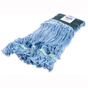 BLUE Wet Mop Head - looped-end,  w/green band
