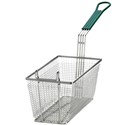"Fry Basket, Green Handle, 13 3/8"" x 6 1/2"" x 5 7/8"""