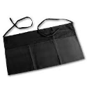 "Waist Apron, Black, 3-compartment pocket, 12"" x 24"""