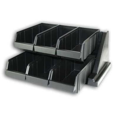 Organizer Rack, with 6 bins, Black