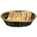 "Basket, Oval, black vinyl with gold trim 9"" x 6"" x 2 1/2"""