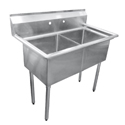 Sink, 2 compartment, no drainboards